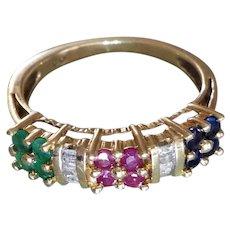 Ruby Emerald Sapphire Daimond 10k Yellow Gold Ring