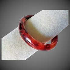 Chinese Translucent Chicken's Blood Stone Bangle 60 mm Inner Diameter