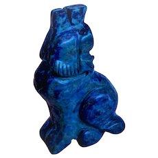 Vintage 1900's Carved Lapis Lazuli Dog Figurine Statue