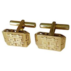 Vintage 1970's Chinese Double Happiness Sterling Vermeil Cuff Links