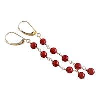 Italian Ox Blood Dark Red Coral 14k Yellow Gold Earrings