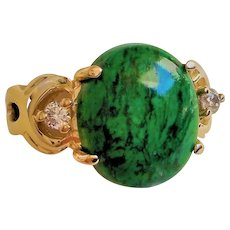 Vintage 14k Large  5.55 ct. Maw Sit Sit Jadeite Diamonds Ring Size 7