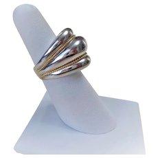 Vintage Charles Krypell 14k Sterling Silver Modernist Ring