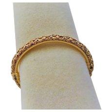 "Italian Gold Vermeil Byzantine Design Hinged Bracelet 7.5 "" Length"