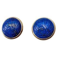 Vintage Genuine Carved Royal Blue Lapis Lazuli Earrings