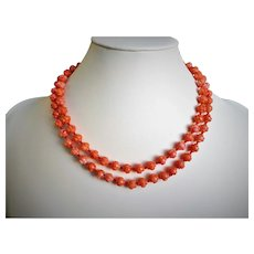 """Carved 7mm Dark Salmon Coral Necklace Length 36"""" 44.6 g"""