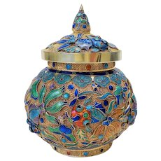 Chinese Qing Export Silver Gold Gilded Enamel Box & Lid