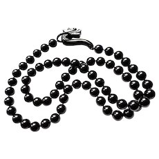 """Vintage Chinese Black Onyx Dragon Clasp Necklace 35"""""""