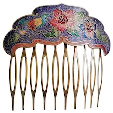 Vintage 1970's Chinese Cloisonne Hair Comb