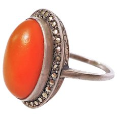 Vintage Art Deco Tomato Red Coral Marcasite 925 Sterling Silver Size 5.5
