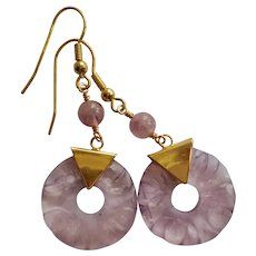 Vintage Chinese Hand Carved Translucent Amethyst Earrings