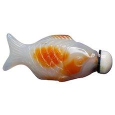 Vintage 1900's Chinese Carnelian Fish Opal Cap Snuff Bottle
