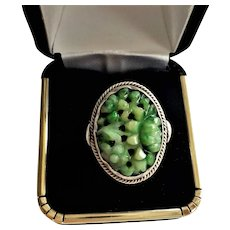 Vintage Chinese Art Deco Apple Green Carved Sterling Ring Size 5.5
