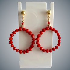 Ox Blood Red Coral Circle Gold Vermeil Earrings