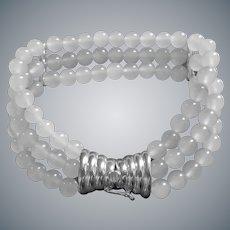 Vintage Translucent White Jadeite Sterling Silver 3 Strand Bracelet