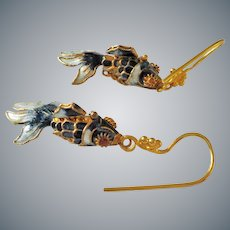 Vintage Chinese Export Gold Gilt Enamel Articulated Fish Earrings