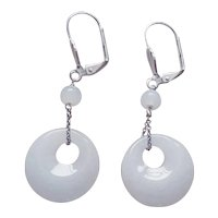 Pure White Translucent Jade Sterling Earrings