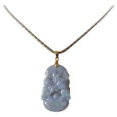 Chinese Carved Lavender Jade Rabbit Gold Vermeil Bail Pendant