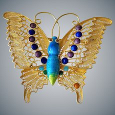 1940's Chinese Export Gold Vermeil Filigree Cloisonne Butterfly Brooch