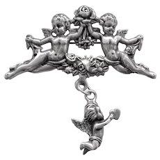 Vintage Angel Cherubs Repousse Sterling Silver Brooch Pin
