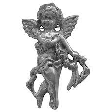 Vintage Angel Cherub Repousse Sterling Silver Brooch Pin