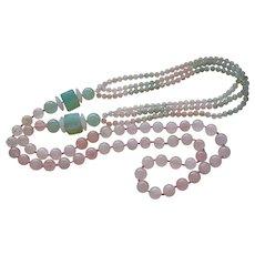 Vintage Chinese Export 1970's Rose Quartz Aventurine Necklace
