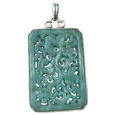 Chinese Carved Pierced Translucent Green Jade Sterling Silver Pendant