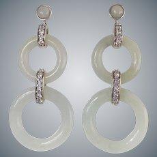 Chinese Export Jadeite Cubic Zirconia Sterling Silver Earrings