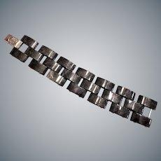 "Chinese Export Black Gray Jadeite Sterling Silver Linked Bracelet 8"" Length"