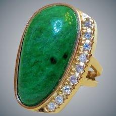 14k Imperial Green 18ct. Maw Sit Sit Jadeite Diamonds Ring Size 7