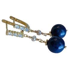 Vintage Lapis Lazuli Cubic Zirconia Pearl Gold Vermeil Earrings