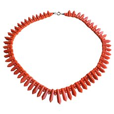Antique Victorian Red Coral Necklace 38.8 Grams