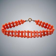 "Antique Victorian Italian Red Coral Bracelet 8"" Length 11.9 Grams"