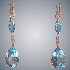 Blue Topaz Cubic Zirconia Pear Cut 14k Rose Gold Vermeil Earrings