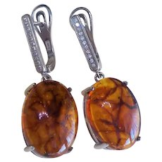 Baltic Translucent Amber Cubic Zirconia Sterling Silver Earrings