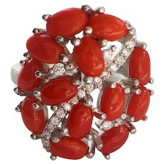 Italian Red Coral Cubic Zirconia 925 Sterling Silver Size 6.5