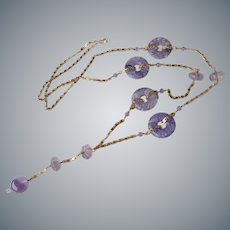 Chinese Carved Amethyst Gold Vermeil Necklace