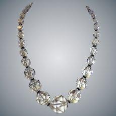 1920's Art Deco Huge Rock Quartz Crystal Onyx Necklace 14k Clasp