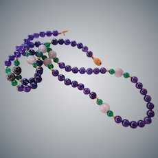 Chinese Amethyst Shou Chrysoprase Necklace 36.5 Inches Length