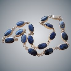 Vintage Taxco Mexico Lapis Lazuli Sterling Silver Necklace