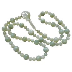Vintage Translucent Carved Green Jade Necklace Jade Dragon Clasp