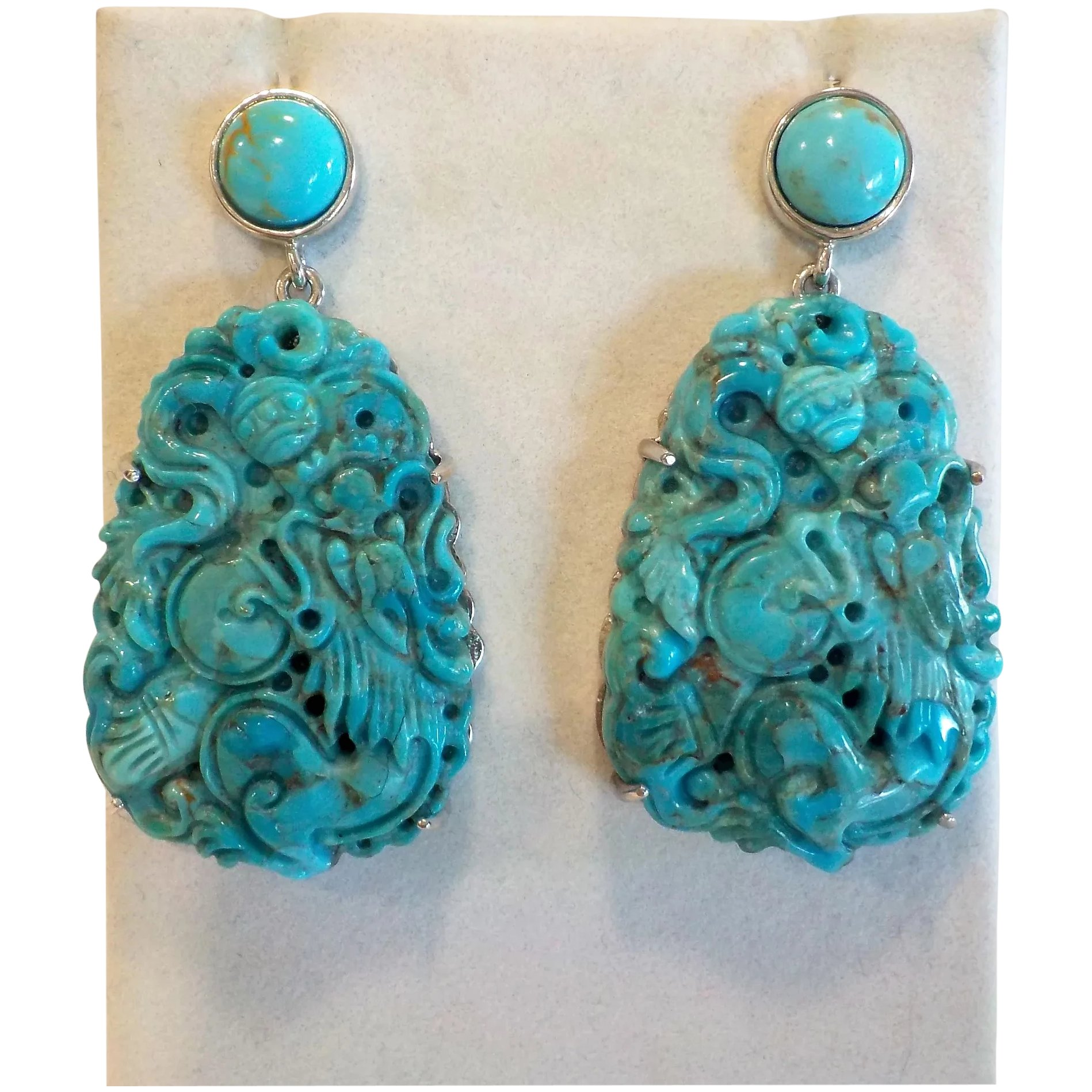 1316 Stunning Turquoise 925 Sterling Silver Earrings
