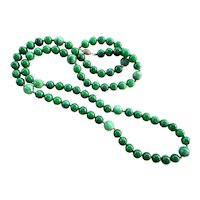 "Emerald Green Jadeite Jade 38"" Long Necklace 14k Gold Clasp"