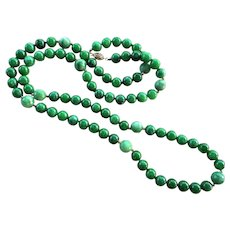 "Emerald Green Jadeite Jade 38"" Long Necklace 14k Gold Clasp"