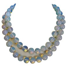 """Translucent 12 mm Blue Opalite Necklace 34"""" Long Sterling Clasp"""