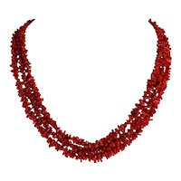 """Vintage Ox Blood Red Italian 3 Strand Necklace 21.5"""" Length 59.4 Grams"""