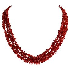 "Vintage Ox Blood Red Italian 3 Strand Necklace 21.5"" Length 59.4 Grams"