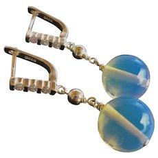 Transparent Blue Moonstone Cubic Zirconia Sterling Earrings