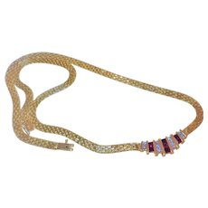 Vintage Ruby Diamond 14k Yellow Gold Necklace