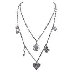 Vintage Sterling Silver Charm Crystal Necklace